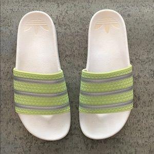 Adidas Lime Green striped slides, SZ 7